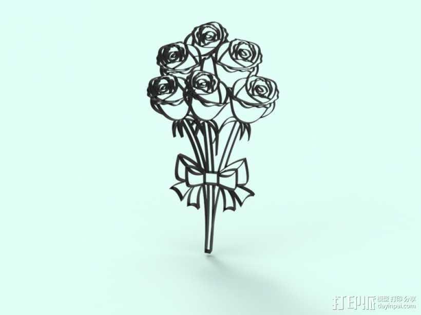 一束玫瑰 模型 3D打印模型渲染图
