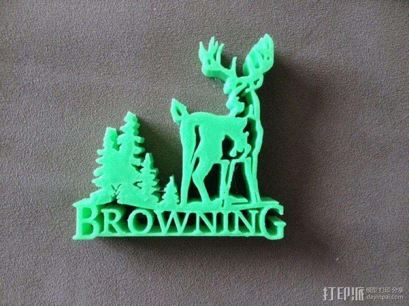 Browning  Logo V2版 3D打印模型渲染图