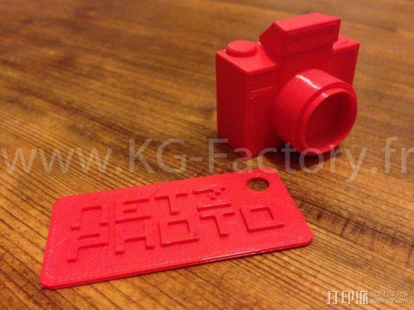 照相机钥匙链 3D打印模型渲染图