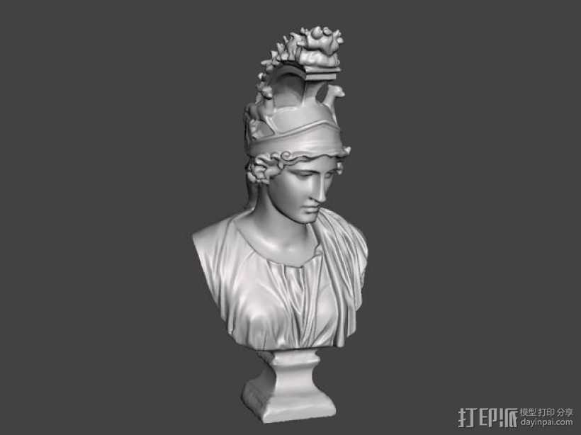 希腊女神半身雕塑 3D打印模型渲染图