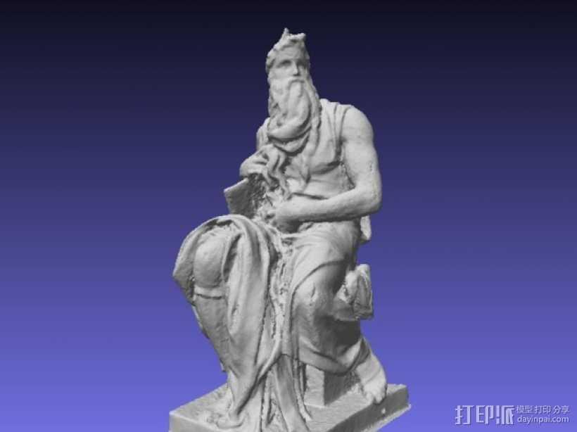 米开朗基罗所造的摩西像 3D打印模型渲染图