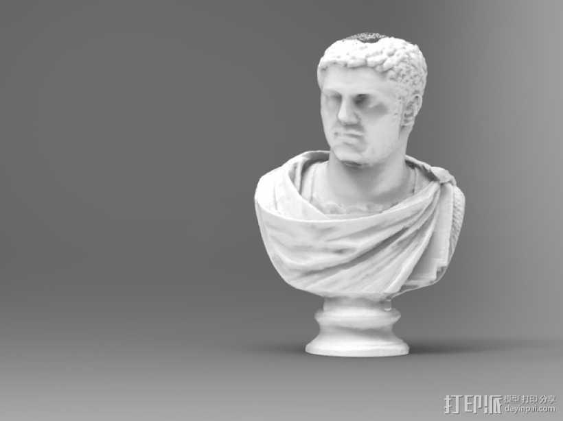 卡拉卡拉皇帝大理石头像 3D打印模型渲染图