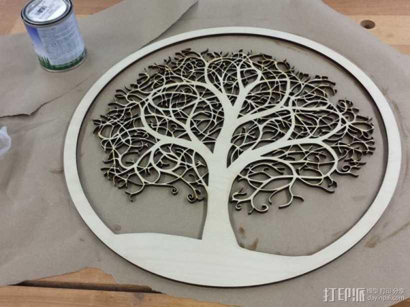 圆盘激光切割树 3D打印模型渲染图