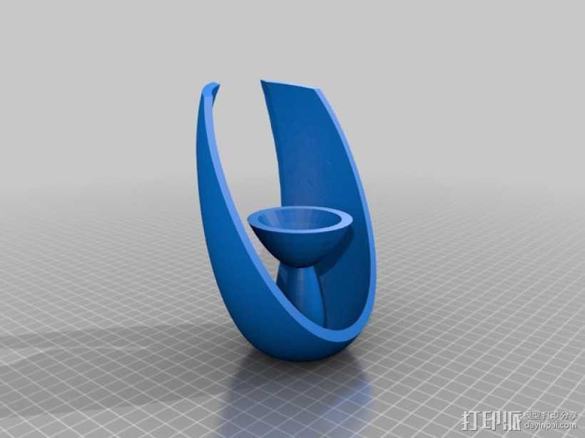 椭圆形茶蜡托 3D打印模型渲染图