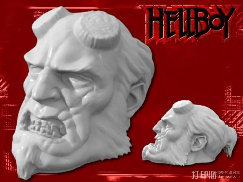 地狱男爵 头像雕塑 3D打印模型渲染图