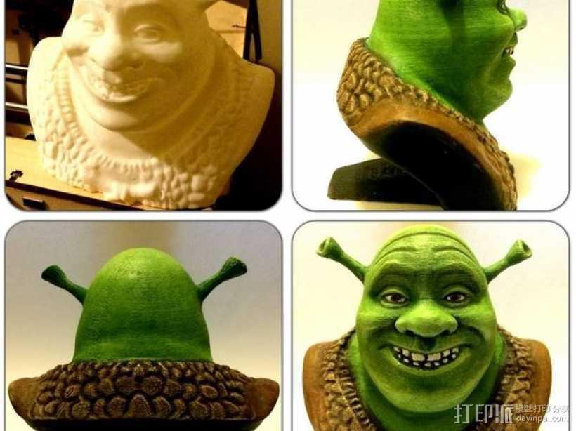 怪物史莱克 头像雕塑 3D打印模型渲染图