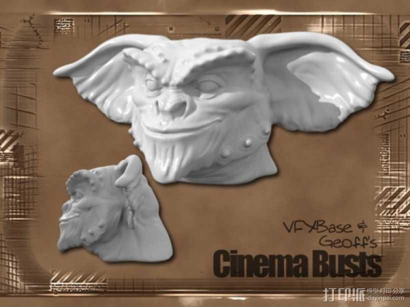小鬼Gremlin头像雕塑 3D打印模型渲染图