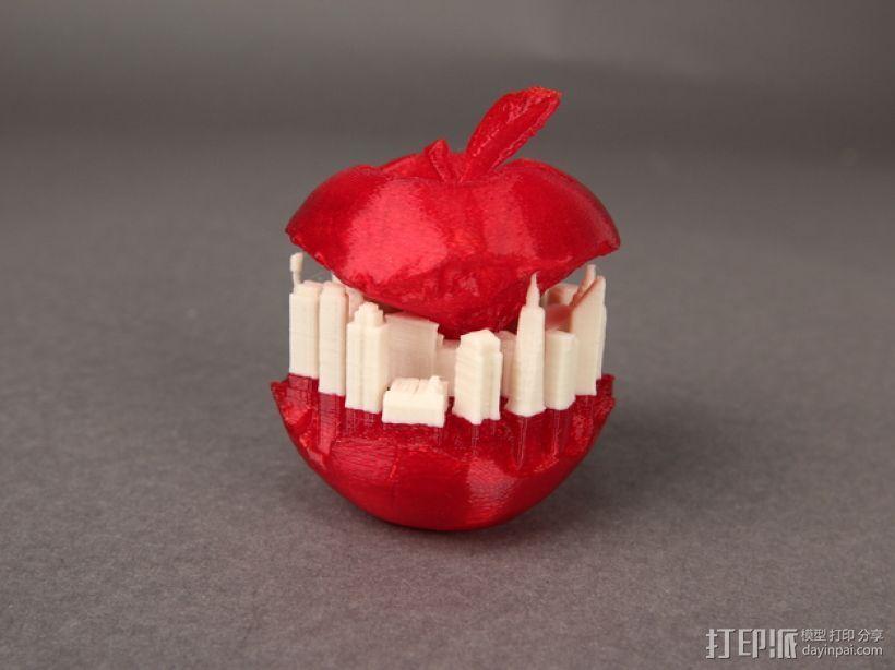 纽约天际线苹果 3D打印模型渲染图