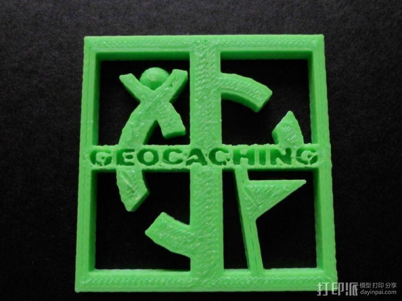 Geocaching地理藏宝 标志 3D打印模型渲染图