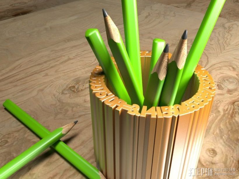 Pi 笔筒 3D打印模型渲染图