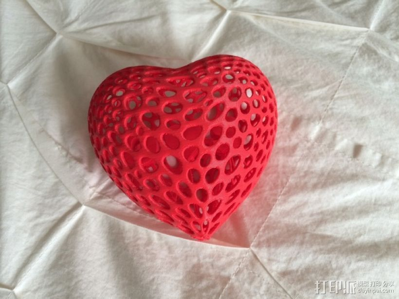 泰森多边形镂空桃心体 3D打印模型渲染图