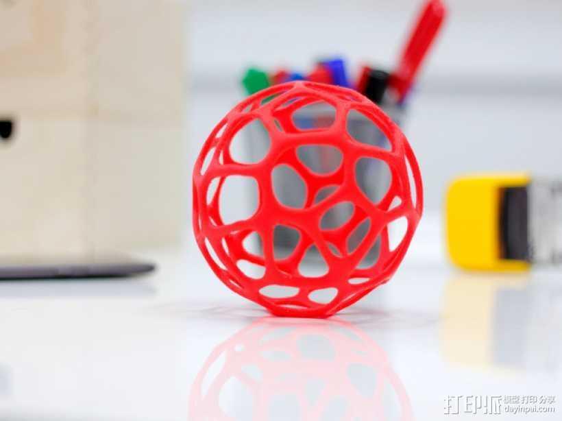 泰森多边形镂空球体 3D打印模型渲染图