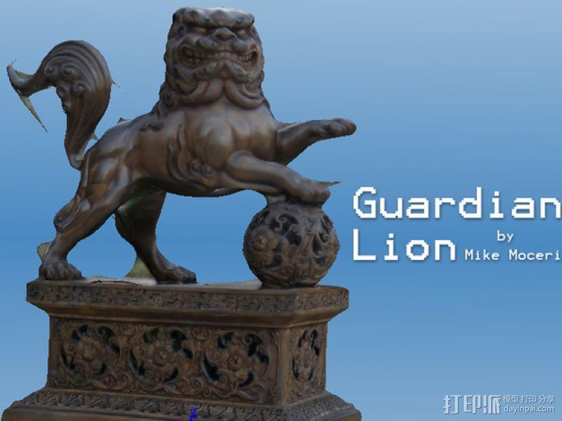 石狮子 雕塑模型 3D打印模型渲染图