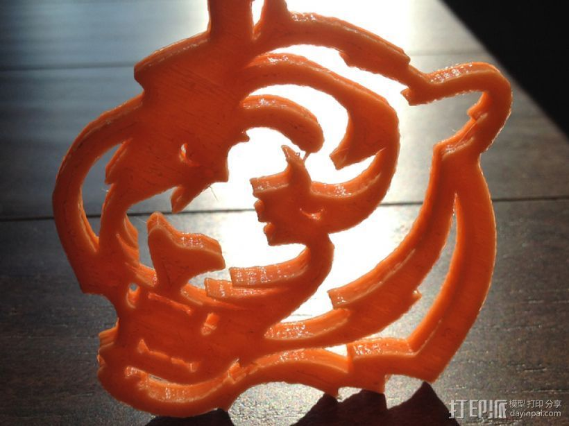 孟加拉虎 标志 3D打印模型渲染图