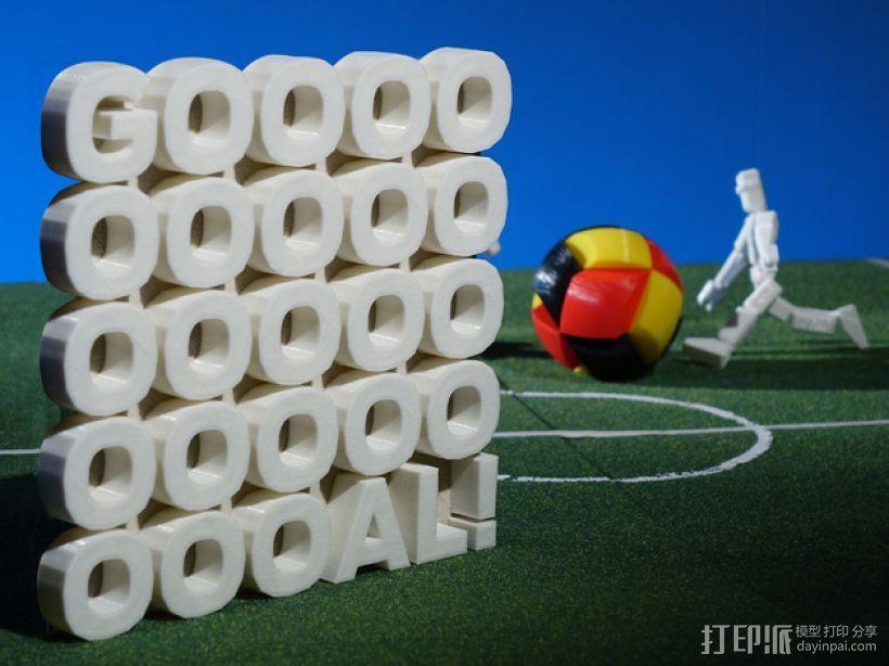 GOOOOOOOOOOOOOOOOOOOOOAL!字母雕塑 3D打印模型渲染图