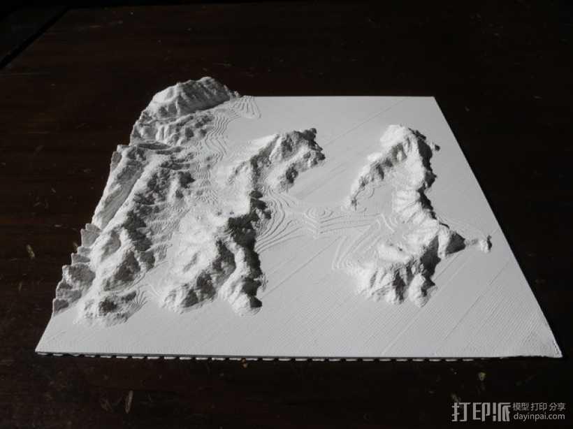 惠灵顿地貌图模型 3D打印模型渲染图
