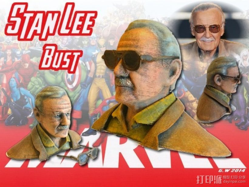 Stan Lee半身像模型 3D打印模型渲染图