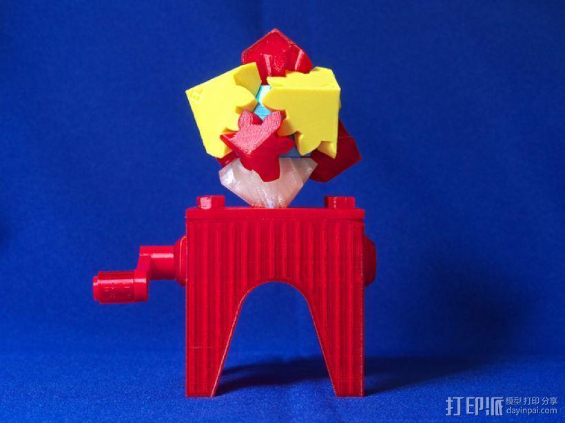 齿轮块(带手动曲柄) 3D打印模型渲染图