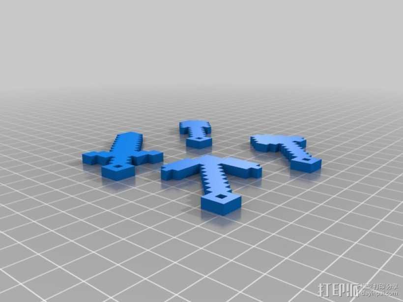 小工具钥匙链 3D打印模型渲染图