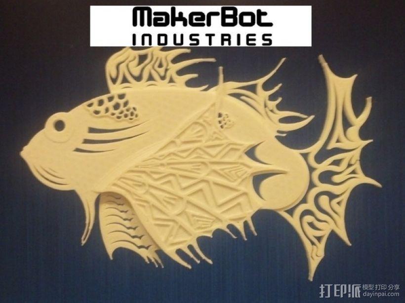 狮子鱼艺术设计 3D打印模型渲染图