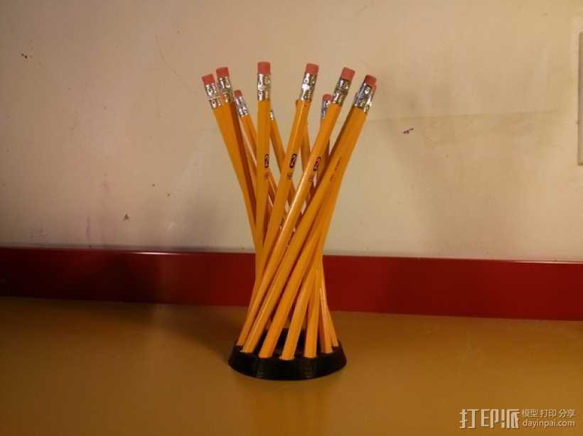 参数型双曲螺旋铅笔筒 3D打印模型渲染图