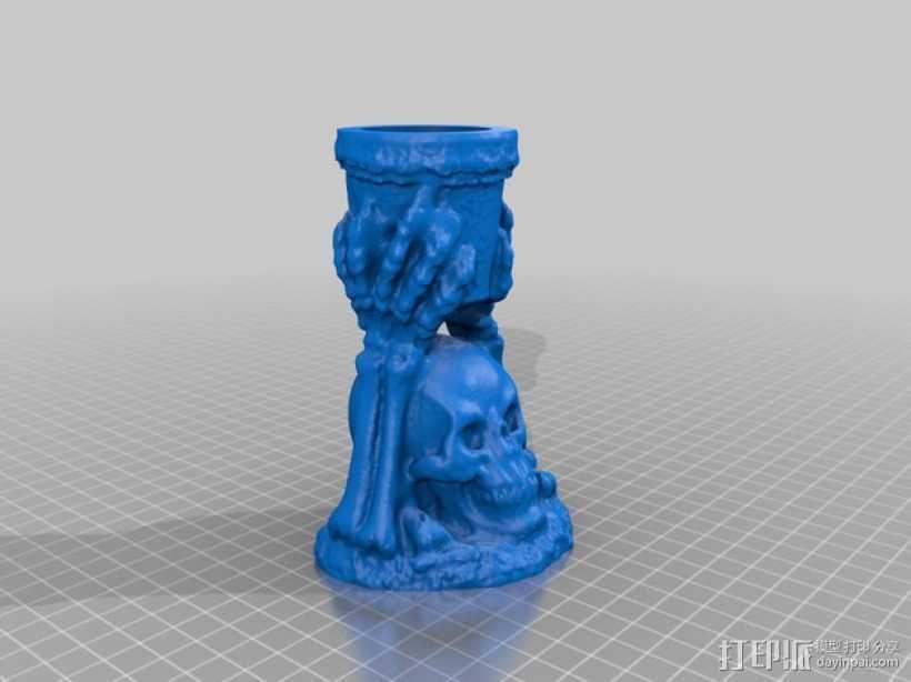 骨架蜡烛台 3D打印模型渲染图