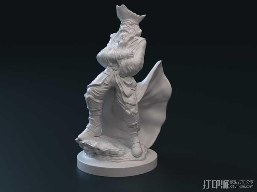 老船长 皮特 Pete雕塑 3D打印模型渲染图