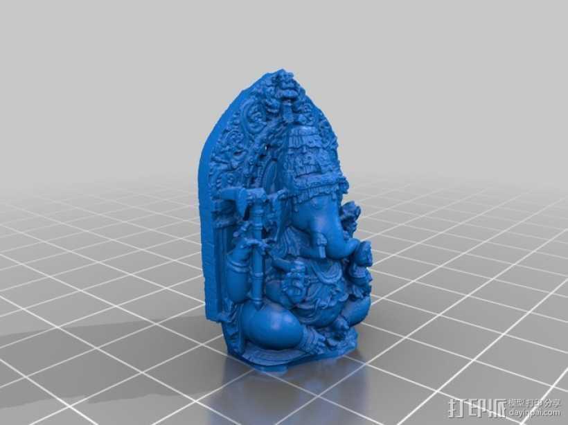 盘腿而坐的象头神 雕塑 3D打印模型渲染图