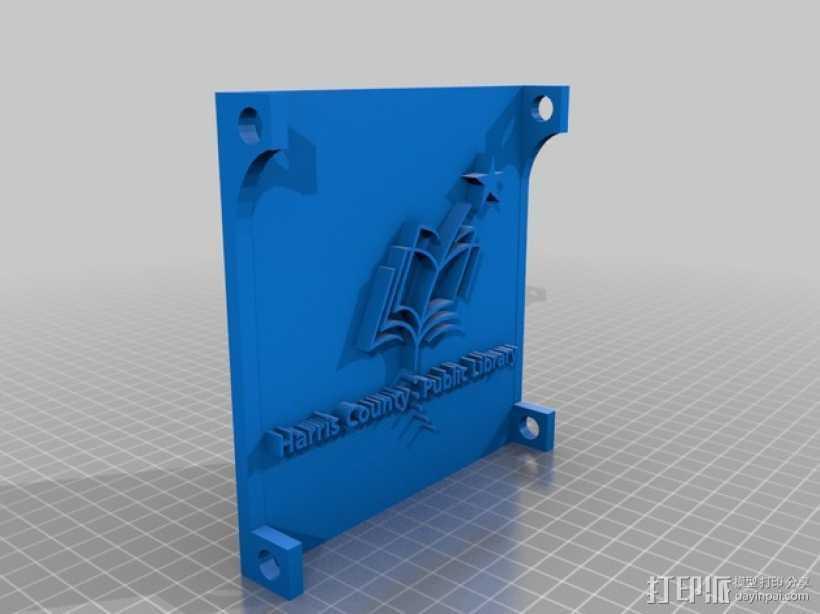 哈里斯国家公共图书馆 标志 3D打印模型渲染图