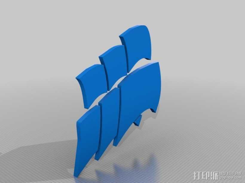 海盗船 标志 3D打印模型渲染图