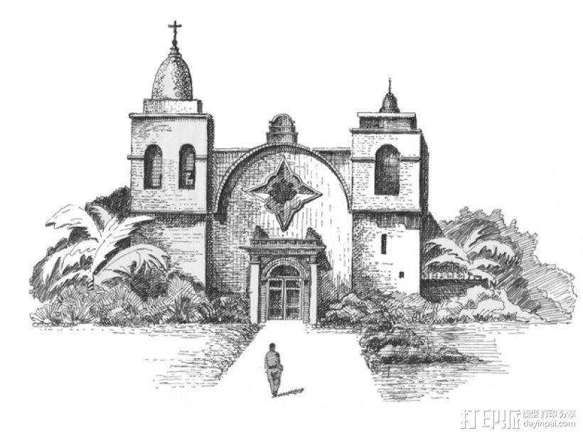 教堂石版画 3D打印模型渲染图
