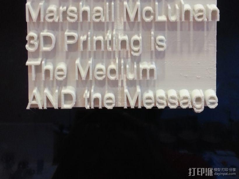 The Medium AND the Message标志板 3D打印模型渲染图