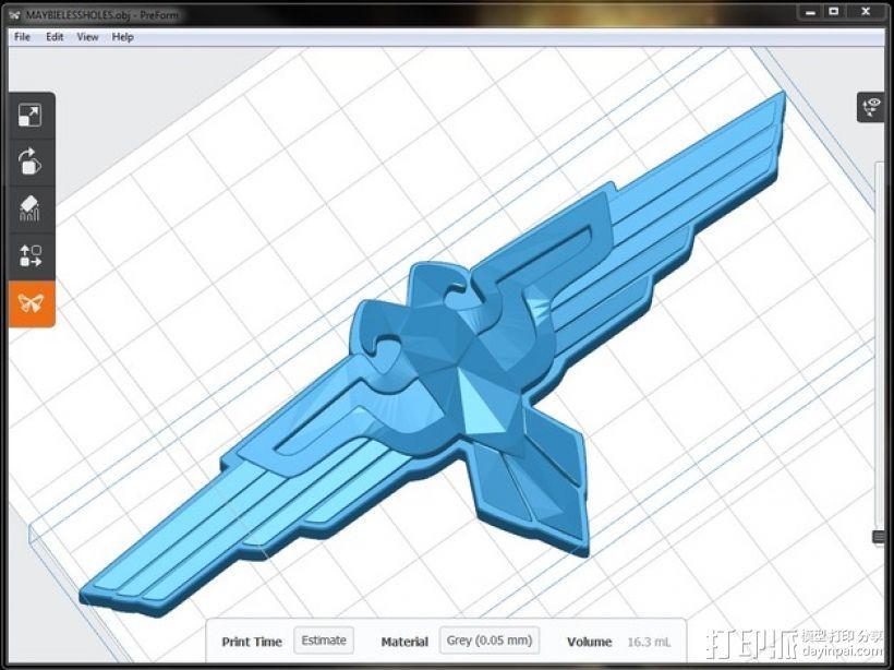 飞鹰形护胸 3D打印模型渲染图
