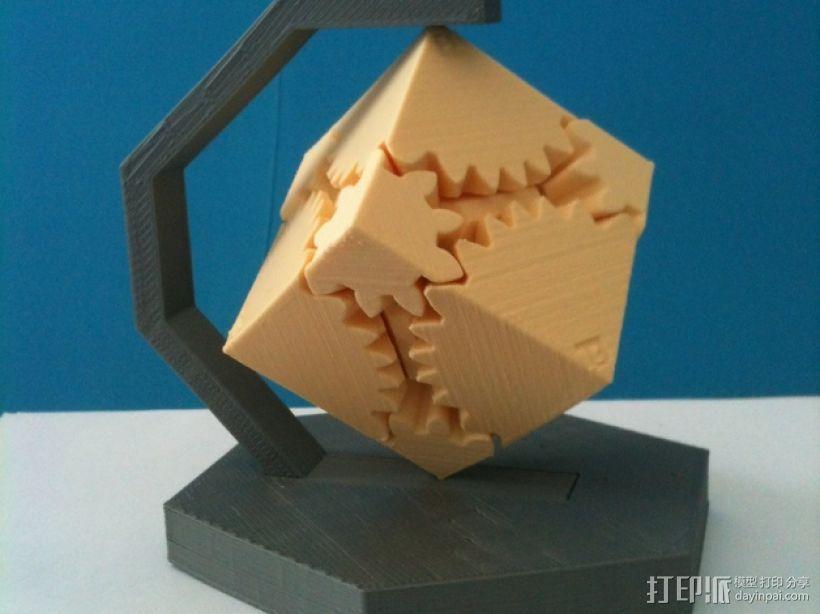 齿轮方块座架 3D打印模型渲染图