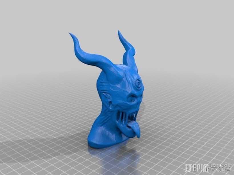 恶魔骑士半身像 3D打印模型渲染图