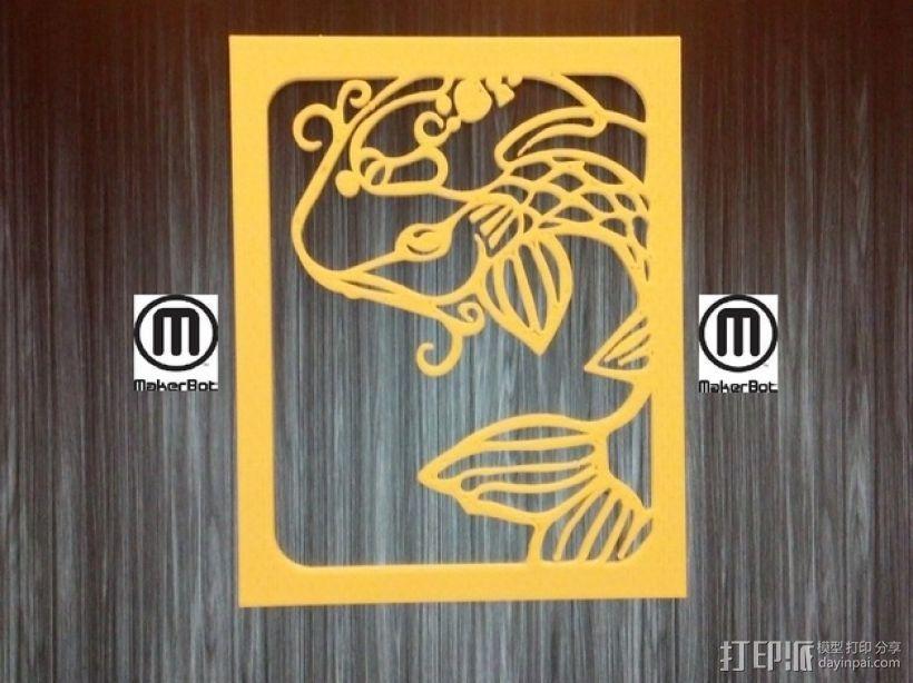 鱼形窗花剪纸模型 3D打印模型渲染图