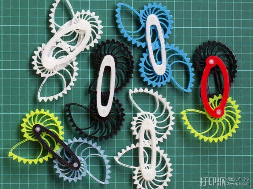 鹦鹉螺齿轮(带连杆) 3D打印模型渲染图