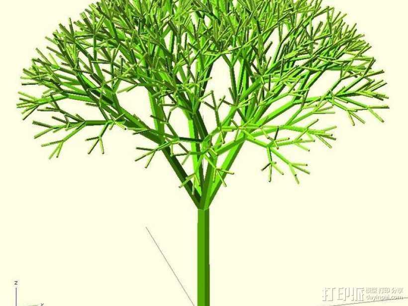 递归树 树模型 3D打印模型渲染图