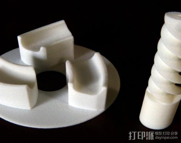 三联齿轮底盘和轮轴 3D打印模型渲染图