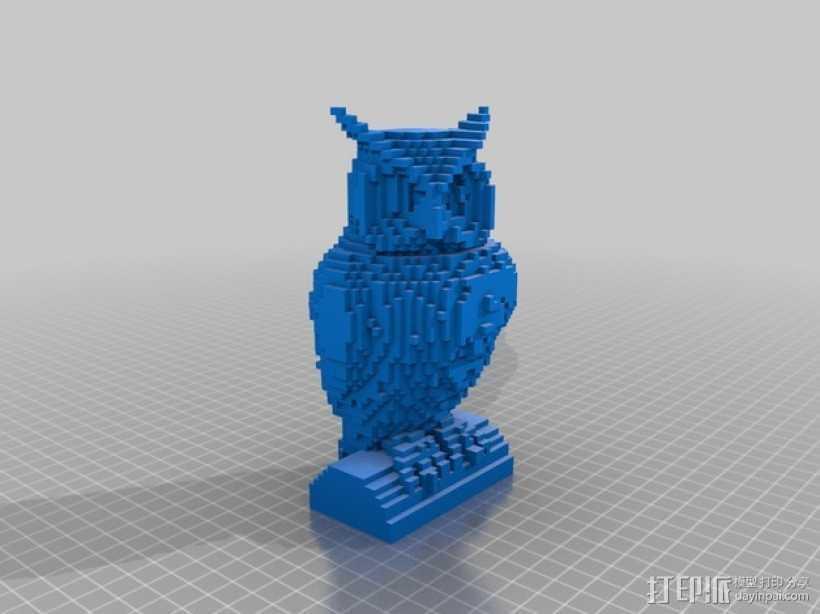 像素化猫头鹰 3D打印模型渲染图