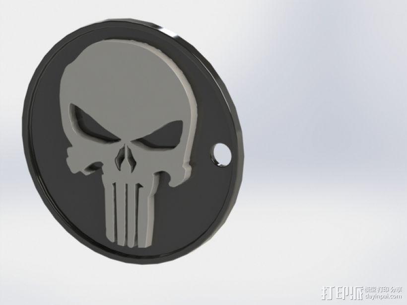 骷髅头钥匙扣 3D打印模型渲染图