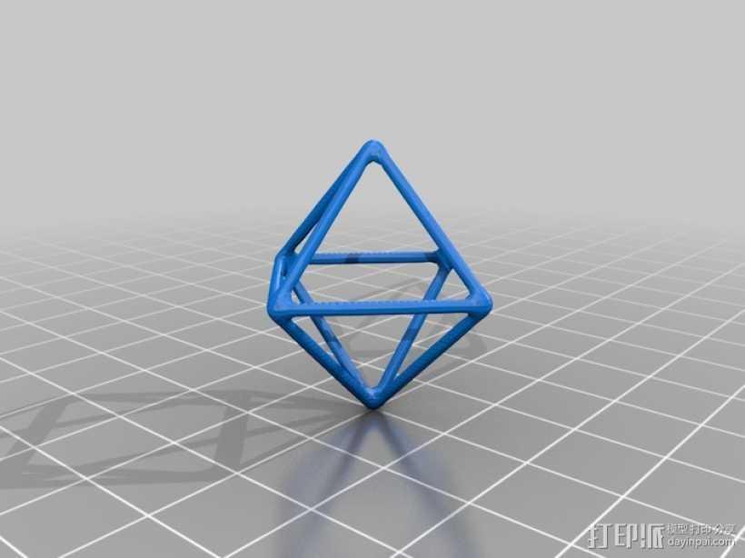 线框钻石模型 3D打印模型渲染图