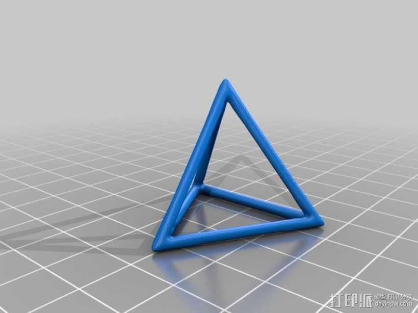 线框式三角锥 3D打印模型渲染图