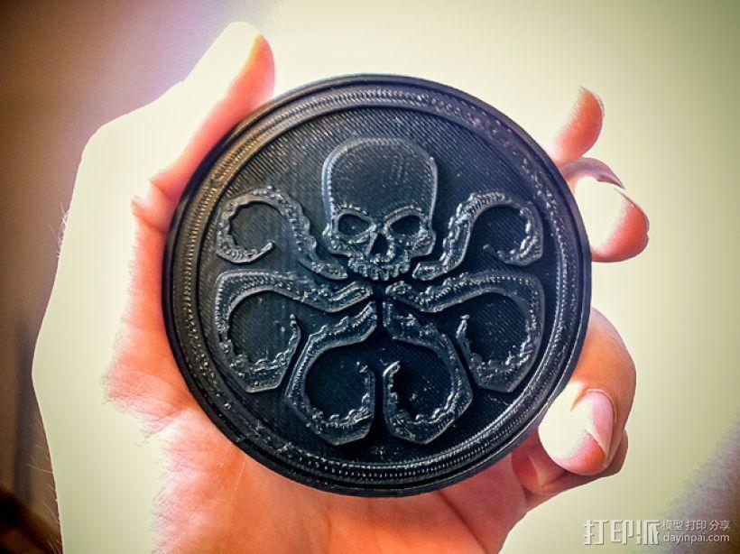 九头蛇标志徽章 3D打印模型渲染图
