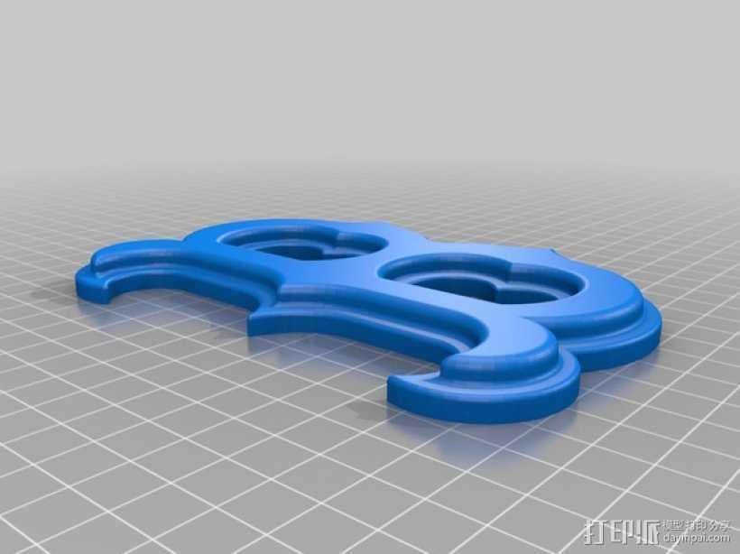 字母B 3D打印模型渲染图