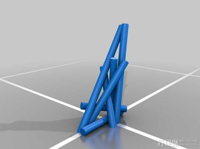 7个圆柱体 3D打印模型渲染图