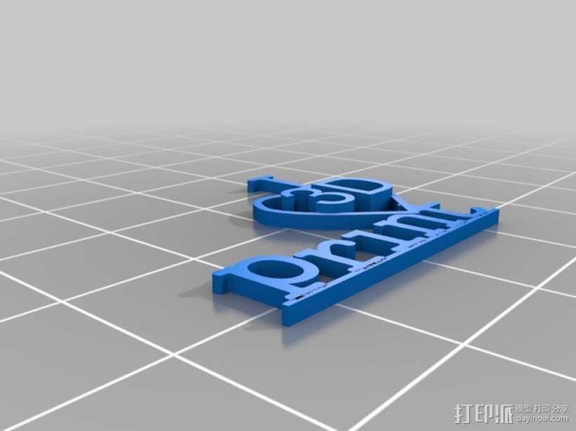 ILove3Dprint字母标志 3D打印模型渲染图