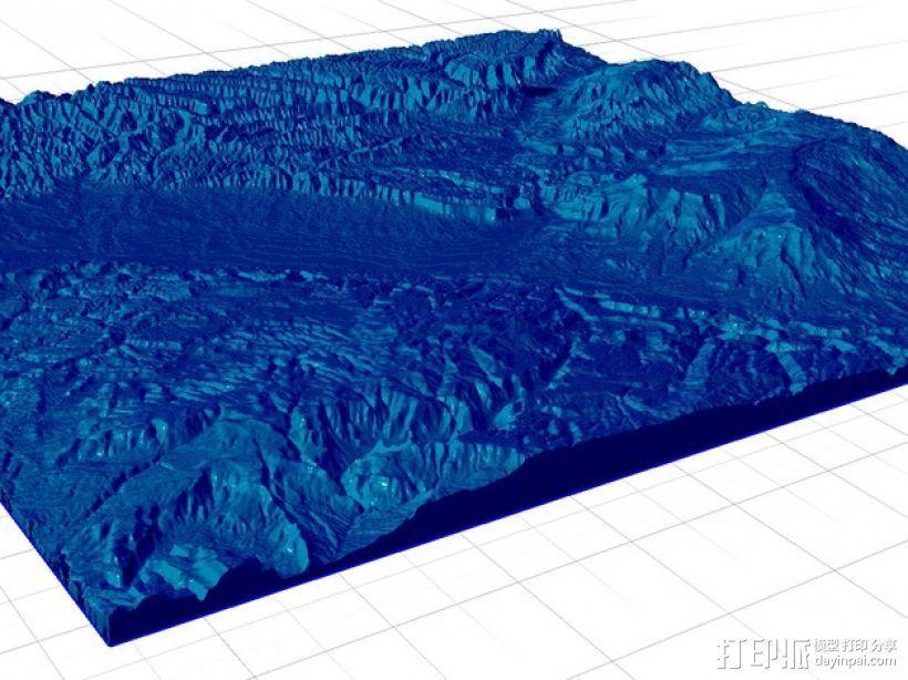 大章克申地形图模型 3D打印模型渲染图