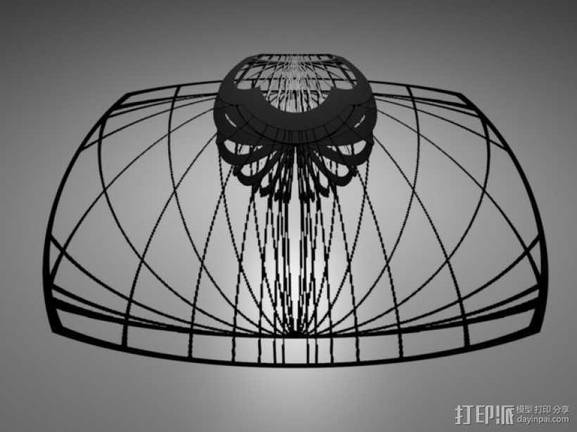 立体投影球 3D打印模型渲染图