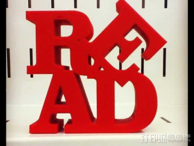 字母READ 3D打印模型渲染图